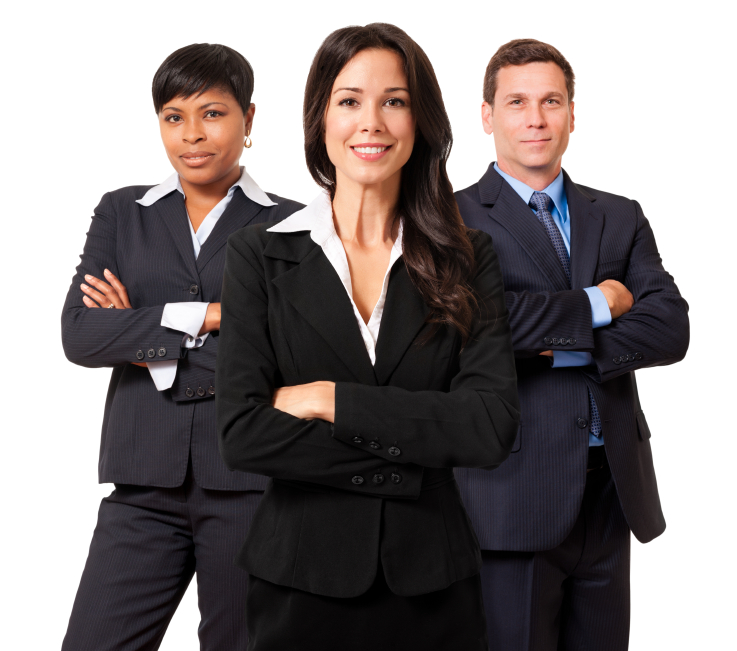 Businesswomen and Businessman Team on white